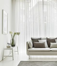 White Voile Curtains In The Lounge Crystal Ecru Modern Net Curtains, Voile Curtains, Living Room Inspiration, Home Decor Inspiration, Modern Lounge Rooms, Minimal Decor, Small Living Rooms, Interior Design, Curtain Ideas