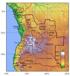 Angola provincias&capitales mapa topografico