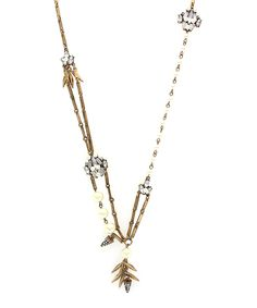 Look at this #zulilyfind! Faux Pearl & Crystal Leaf Pendant Necklace by Olivia Welles Jewelry #zulilyfinds
