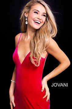Hot Pink Backless V Neck Fitted Velvet Prom Dress 57900