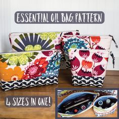 Essential oil bag PDF PATTERN / TUTORIAL *This listing is for a digital pattern only.  Fill the padded pockets with oils, or use for your