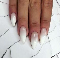 Nail Art Designs Images, Ombre Nail Designs, White Nail Designs, Almond Shaped Nail Designs, Almond Nails Designs, Cute Acrylic Nails, Fun Nails, Almomd Nails, Glitter Nails