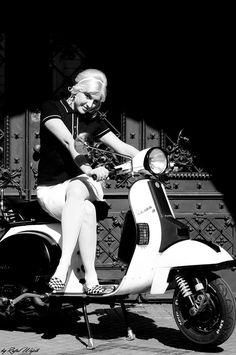Modette girl on scooter