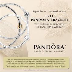 adc99562bde7 Pandora Free Bracelet weekend starts this Thursday until next Monday only!  Stop by today to