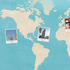 World Travel Photo Map Photo Collage Gift Personalised Photo