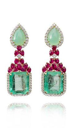Emerald Earrings Farah Khan gold earrings featuring diamonds rubies chrysoprase and emeralds Step into a new season Emerald Necklace, Ruby Jewelry, Emerald Earrings, Fine Jewelry, Drop Earrings, Bridal Earrings, Jewelry Box, Schmuck Design, Beautiful Earrings