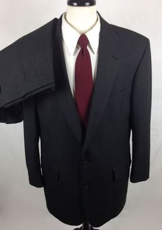 Brooks Brothers Suit Mens Gray Wool Blazer Sport Coat Jacket 44 L #BrooksBrothers #TwoButton