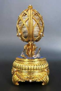 Faberge Swan Lake Imperial Jeweled Musical Egg