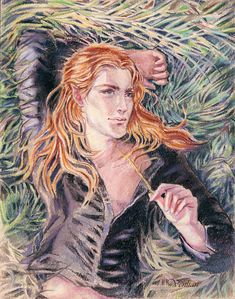 "This is my interpretation of Maedhros when he was young and lived in Valinor. J.R.R. Tolkien ""Silmarillion"" pastel pencils, A5 paper Fingon Feanor Curufin Caranthir"