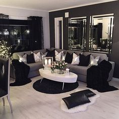 Home Decoration - 80 Stunning Small Living Room Decor Ideas For Your Apartment 06 – DECOOR - Wallpaper Pinme Living Room Grey, Living Room Interior, Home Living Room, Apartment Living, Living Room Designs, Black Living Room Furniture, Black And White Living Room Ideas, Black Furniture, Furniture Ideas