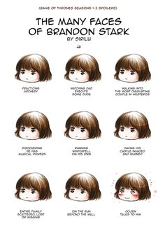 The many faces of Bran Stark - Season 1-3 spoilers by Sirilu on DeviantArt