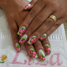 Unhas Nails Esmaltes Decorada Flores
