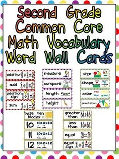This packet has word cards for important vocabulary words in the Math Common Core State Standards for Second Grade. This will allow you to create a Math Word Wall to help expose students to this important academic vocabulary. The cards are illustrated to help students understand the meaning of each word and are color-coded by domain. Click to see the list of words included :)