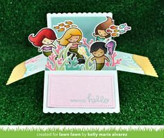 Lawn Fawn - Scalloped Box Card Pop-up, Mermaid for You, Stitched Hillside Borders _ card by Kelly for Lawn Fawn Design Team