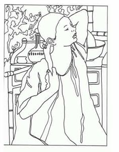 Seurat Art appreciation coloring pages  tape to shrinky dink page