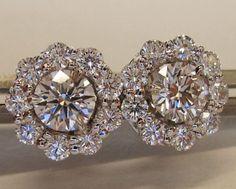 Diamond studs with ID Jewelry diamond earring jackets #diamondearrings #stonestudearrings
