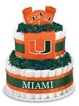 """Miami Hurricanes Diaper Cake - The perfect baby shower gift for the collegiate sports fan! These creations are made from layers of diapers, stacked to look like a cake and filled with licensed collegiate baby products (or as we like to call them, """"ingredients""""). The standard diaper cake includes two layers of diapers (40-45), a team t-shirt, knit cap and booties.    Cakes may vary in color or """"ingredients"""" with available inventory."""