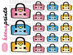 A359 GYM BAG Teal Workout Repositionable Stickers by keenaprints