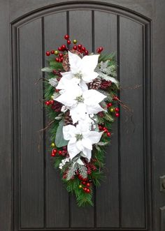 Christmas Wreath-Winter Wreath-Holiday Decor-Vertical-Teardrop Wreath-Door Swag Decor-White Poinsettia-Red Berries-Pinecone-Indoor/Outdoor by AnExtraordinaryGift on Etsy