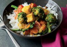 lemongrass curry with broccoli and tofu