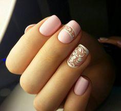 wedding nails pink pattern