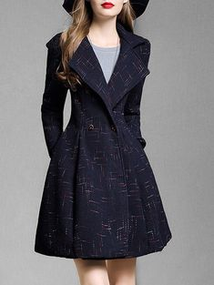 Wool Blend A Line Skirted Coat - CERULEAN S
