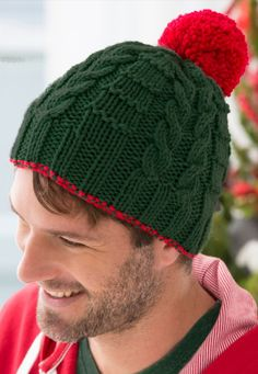 Free Knitting Pattern for Gift Beanie Knit Flat - These hats feature mirrored cables and are knit flat and seamed. Designed by Cathy Payson
