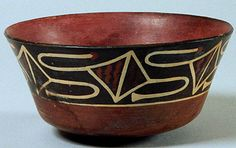 South America, Peru, Nazca Bowl Late Nazca period (350-500 CE) Terracotta with black, red, and white slip