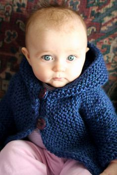 Blue baby hoodie FREE pattern, Snug by Hinke. See our new multi-colors: http://metaphoryarns.com/category/128-Superwash/0016/page1