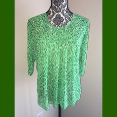 Michael Kors top! Excellent condition. Michael Kors green and white sheer top. Perfect for spring Michael Kors Tops Blouses