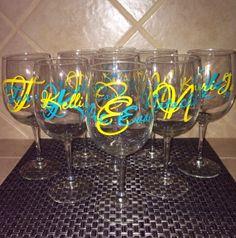 Custom Monogram Vinyl Wine Glass Decals by PersonalizedJewellz, $5.00