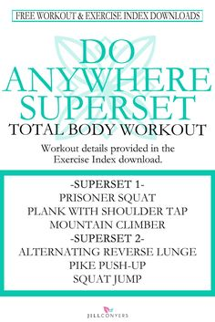 Burn calories and tone your muscles with this total body superset workout. With no equipment needed you can do this workout anywhere. Fit Board Workouts, Fun Workouts, At Home Workouts, Workout Exercises, Body Workouts, Workout Ideas, Fitness Tips, Fitness Motivation, Health Fitness