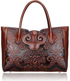 Pijushi Classic Ladies Embossed Floral Leather Tote Handle Shoulder Handbags 91776 (Brown)