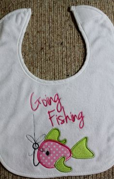 Embroidered and Appliqued Bib with Fish on a by AppliquesByGranjan, $15.00