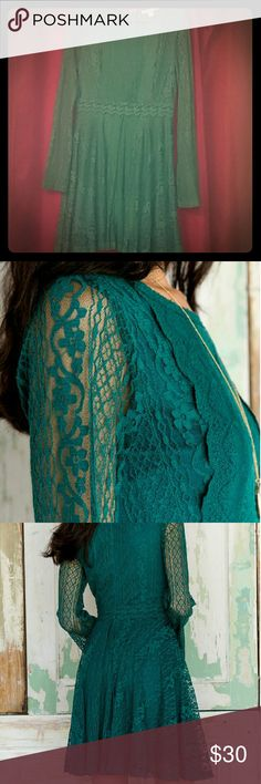 Francesca's Miah dress (Miami) NWOT/never worn! Vibrant teal dress with a boho June Carter feel! Super soft lace to dress up in comfort - looks great with a choker or layered necklaces for a gypsy vibe ?? Francesca's Collections Dresses