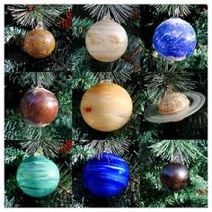 Solar System Ornament Set, 9 Planets with Sun!