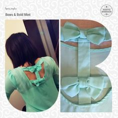 Mint Bow Back Blouse This used to be one of my favorite tops! It goes great with white skinnies for the spring and summer. This beautiful blouse is mint with 3/4 sleeves that are rolled and secured with a strap and had two darling bows in back. I believe it is juniors sizing so it could fit a M too MINE Tops Blouses