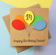 14th birthday card Balloon birthday card ANY AGE 13th | Etsy Happy Birthday Godson, 16th Birthday Card, Special Birthday, Handmade Birthday Cards, Happy Birthday Cards, Greeting Cards Handmade, 30th, 21st, Balloon Birthday