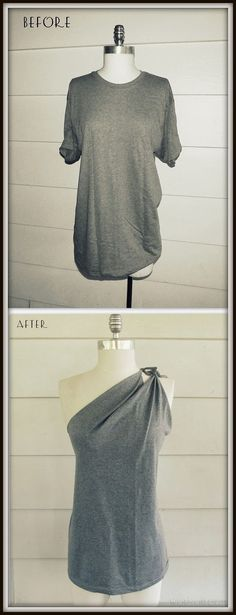 Easy and cute way to change a boring old tshirt using only scissors! Love this idea: