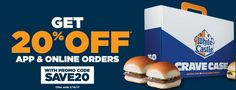 White Castle BOGO Coupon Promo Code :  20% Off - https://couponsdowork.com/restaurant-coupons/white-castle-bogo-coupon-promo-code-20-off/