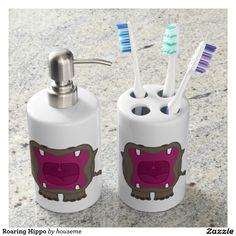 Roaring Hippo Soap Dispenser And Toothbrush Holder