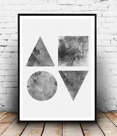 Geometric art monochrome art black and white Nordic by Wallzilla