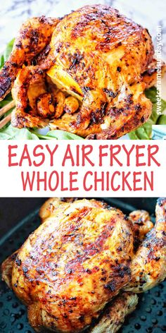 Whole Chicken (rotisserie style) doesn't get any easier in the Air Fryer! Perfect any night of the week with crispy skin, seasoned succulent and juicy chicken. This is a family friendly meal perfect for dinner! #easyrecipe #chickenrecipes #chicken @sweetcaramelsunday Sunday Recipes, Lunch Recipes, Easy Dinner Recipes, Easy Meals, Savoury Recipes, Drink Recipes, Delicious Recipes, Easy Recipes, Marg Recipe