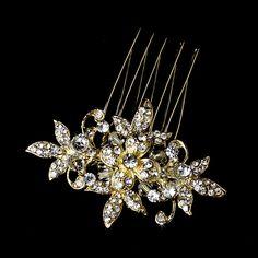 -gold Stunning Gold Clear Rhinestone & Crystal Flower Hair Pin 1583