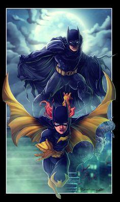 Batman & Batgirl - line art: Ardian Syaf, color: diabolumberto.deviantart.com