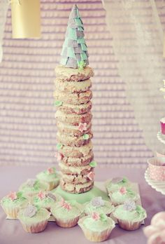 tangled-theme-donut-tower (using krispy creme donuts, dowels on foam and gum paste flowers!)