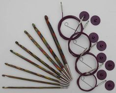 Knit-Pro Afghan Crochet Hook Set    Set of 8 Afghan or Tunisian Crochet Hooks, utilising Knit-Pro's interchangeable needle system.  Sizes in pack: 3.5mm; 4mm; 4.5mm; 5mm; 5.5mm; 6mm; 7mm; 8mm.  Made from the same distinctive compessed coloured Birch as the regular hooks, this set comes in a plastic case, with 4 cable attachments (60, 80, 100, & 120cm, 8 cable caps, and 4 keys.    Code 20735
