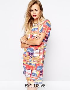 Hype X ASOS Fats Food T-Shirt Dress With All Over Print