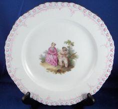 KPM Set of Three Watteau Scene Plates 1