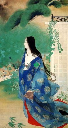 Go-Toba Emperor Daijô and Iga-no-tsubone (後鳥羽上皇と伊賀局), 1930, ITÔ Shôha (伊藤 小坡), Iga-no-tsubone was a beloved concubine of Go-Toba Emperor Daijô. Emperor Daijô gave two shoen (manor.) Emperor Daijô was a Japanese Emperor who abdicated in favor of a successor. A Emperor Daijô could still exert power.